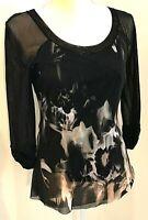 Elana Kattan Print Stretch Top Blouse Black 3/4 Cuffed Sheer Sleeves Size M