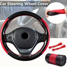 1*38cm Car Steering Wheel CoverGenuine Leather  w/ Needle Thread Black Hand-sewn