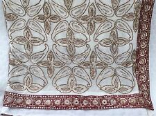 Magnifique Indien Saree, grand Prêt CHEMISIER. Crème/antique or, marron bordure