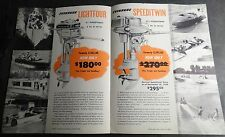 VINTAGE 1950 EVINRUDE OUTBOARD MOTOR LIGHTWIN & SPEEDITWIN SALES BROCHURE 4 PG