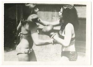 Vintage Original Photograph B651 Bernard Kobel Boxing Women Action Photo Bikinis