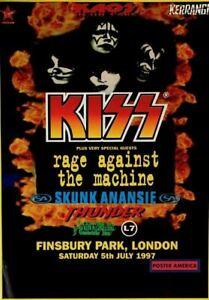 Kiss & Rage Against The Machine Rare Finsbury Park London 1997 Concert Poster 23