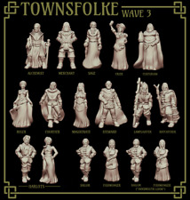 RPG Miniatures - Townsfolke Collection Set 3 - NPCs - Stats PDF for 5E Included