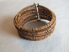 "Collectible Cuff Wrap Bracelet Light Brown Wood Seeds Beads 1 1/4"" Wide NICE"