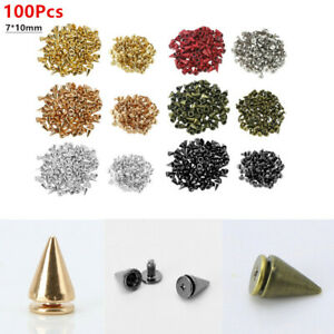 100Pcs Cone Rivet Spikes Screwback Studs for DIY Leather Craft Clothing Jacket