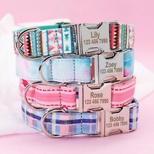 Fashion Personalized Dog Collar Custom Name ID Laser Engraved Metal Buckle S M L