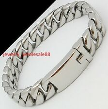 8.66'' 12mm Mens Stainless steel Curb Chain Men Fashion Bracelet Polished Silver