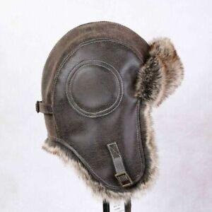Men Winter PU Leather Hat Fur Russian Ushanka Cossack Trooper Trapper Bomber Hat