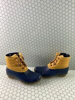 Sperry Top-Sider SALTWATER Yellow Quilt/Rubber Lace Up Rain Boots Women's Size 7
