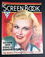 Screen Book Magazine Cover Only Ginger Rogers Mozert  Art 1936 Feb