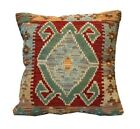 Handmade Kilim Cushion Cover Vintage Tribal Red Wool Scatter Pillow