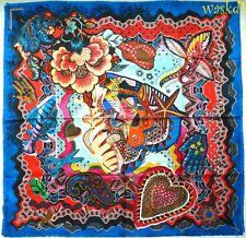 CHRISTIAN LACROIX blue border SEA WORLD FANTASY fringed silk scarf NWT Authentic