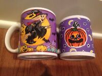Vintage Set of 2 Halloween Mugs WITCH on BROOM PUMPKIN BATS SPIDERS Ceramic WCL