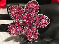 Antiqued Silver Tone OMEGA Flower Dome Raspberry Rhinestone Brooch