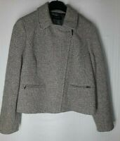 Talbots Womens Size 10 Gray Wool Blend Zippered Lined Jackie Fit Jacket Coat NWT