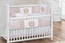Royal Teddy Bear Theme Pink Baby Girl 7pc Nursery Crib Bedding Set Embroidered