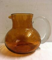 "Hand Blown Art Glass Pitcher Carafe Amber Orange Clear Applied Handle 7 1/2""H"