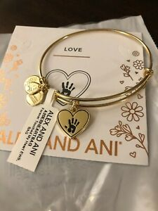 """ALEX AND ANI """"FOREVER TOUCHED MY HEART"""" SHINY ANTIQUE GOLD Bangle NWT & Card"""
