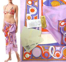 8de2785f60d Emilio Pucci Large Lilac Orange Kaleidoscope Cotton Batiste Pareo Shawl Auth