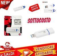 Pendrive Penna Pennetta USB Chiavetta Kingston 16GB 3.1 3.0 2.0 DataTraveler G4