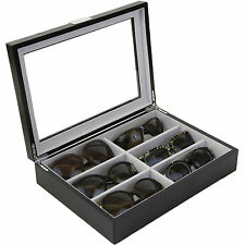 Sunglass Case Storage Black Wood Grain Glass Window TSSG500BK