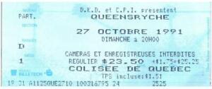 Vintage Queensryche Ticket Stub October 27 1991 Colisee De Quebec