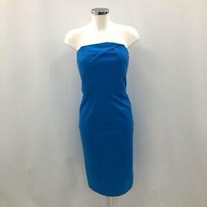 New Roland Mouret Dress Women's UK 12 Blue Cotton Strapless Pencil Smart 023040