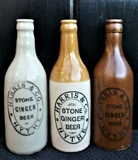Vintage Stoneware Ginger Beer Bottles Harris & Co Hythe Stone Ginger Beer, 3 No