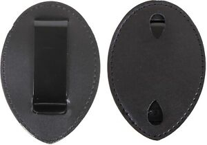 Black Leather Clip On Badge Holder Uniform Shield Law Enforcement Security Duty