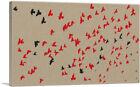 ARTCANVAS Modern Flock Flight in Red and Black Canvas Art Print