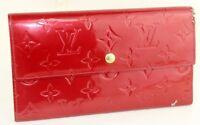 Auth LOUIS VUITTON  Vernis Patent Leather Red Portfolio Long Wallet TH1016