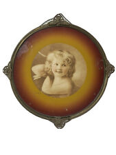 Antique Flue Cover Lithograph Pretty Little Girl Cupid Bow& Arrow Round Frame