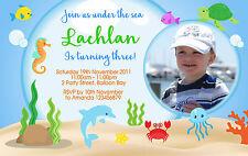 Personalised Under the Sea Invitations Birthday 1st 2nd 3rd Ocean Photo Invites