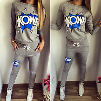 Womens Hoodies Sweatshirt Casual Long Sleeve Tops+Pants Sportwear Tracksuit Set