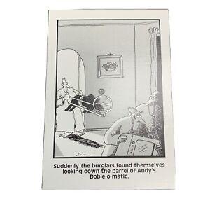"The Far Side Gary Larson Postcard Andy's Dobie-o-matic Dog Burglars 1985 4"" x 6"""