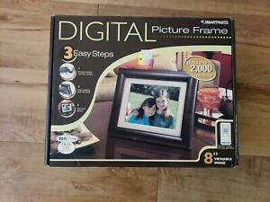 Smartparts Digital Picture Frame 8 inch Up To 3000 Pictures Wood Look - New