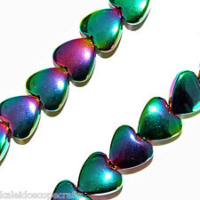 MAGNETIC HEMATITE BEADS IRDESCENT RAINBOW COLOR HEART BEADS 8MM BEAD STRANDS