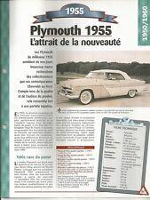 VOITURE PLYMOUTH BELVEDERE FICHE TECHNIQUE AUTOMOBILE 1955 COLLECTION CAR