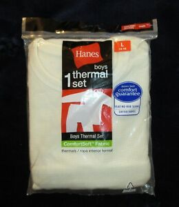 Hanes boy sz L 12 14 ivory thermal set Youth Comfort Soft Long Johns Shirt pants