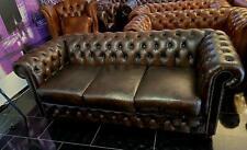 Chesterfield 3Sitz Sofa  Antik Braun Tobacco gewischt
