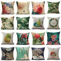 "Vintage Laef 18"" Cotton Linen Pillow Case Waist Throw Cushion Cover Sofa Decor"