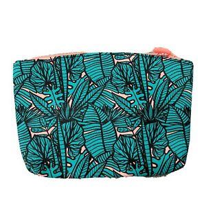 ipsy Makeup Travel Bag Tropical Green Orange Zip Size Small