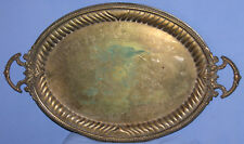 ANTIQUE VICTORIAN ORNATE FLORAL BRONZE ENGRAVED SERVING TRAY