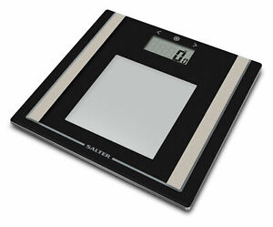 Salter Body Fat BMI Scales Large Black Glass Analyser Bathroom Scales 9112