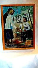 "FRENCH 1940c ORIGINAL OIL PAINTING ON CANVAS ""SPRING FLOWER'S STREET MARKET""SIGN"