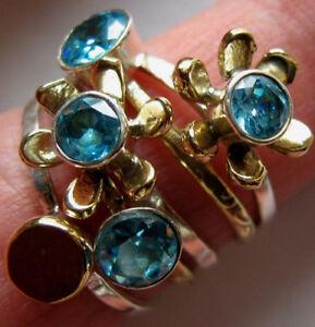 beweglicher Blautopas-Ring, 5-Teile, 925er Sil., Gr.53