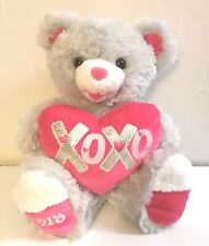 "2018 Dan Dee Collector's Choice Gray Sweetheart Teddy Bear Heart Plush 18"" EUC"