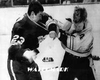 1969 NHL Pat Quinn Leafs Fighting Bruins Bobby Orr Black & White 8 X 10 Photo