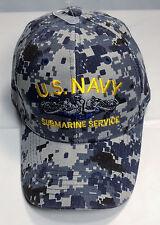 US Navy Submarine Service Ball Cap BLUE DIGITAL CAMO Dolphins Sub Force Vet Hat