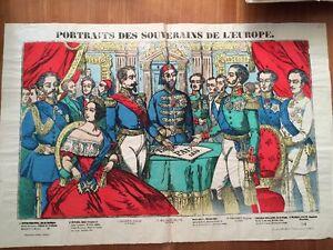 Grande Image D'Épinal Fin XIXème. PORTRAITS Des SOUVERAINS De L'EUROPE.